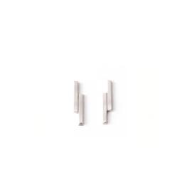 Oorknopjes dubbel staafje - zilver