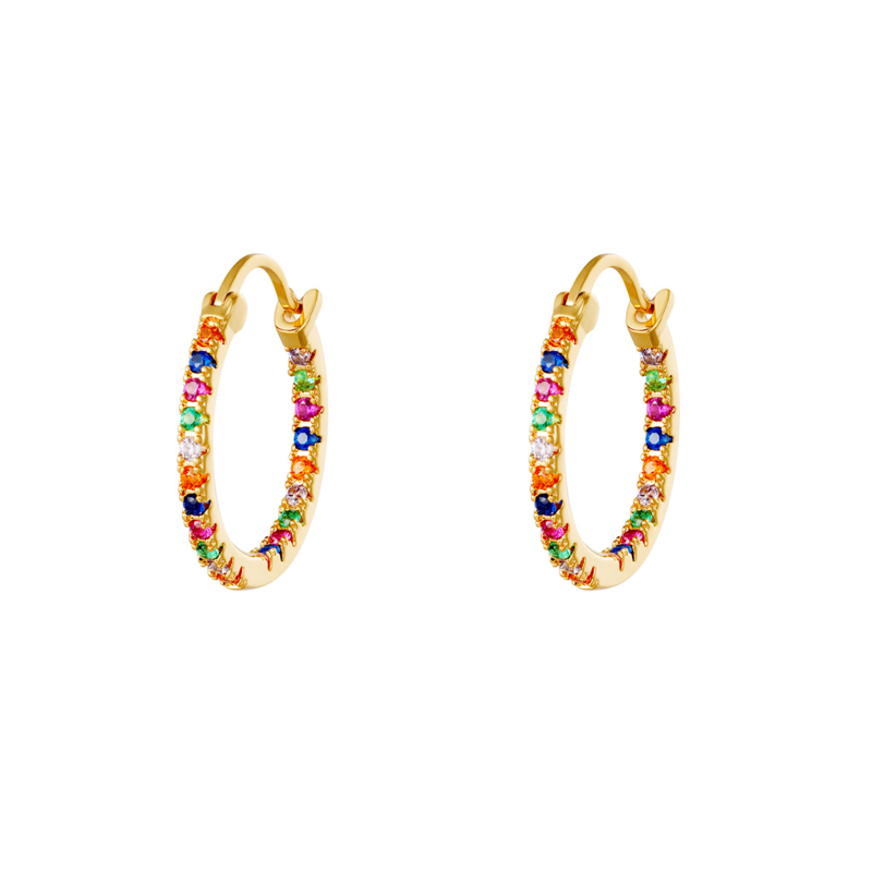 Oorringen gekleurde steentjes - goud