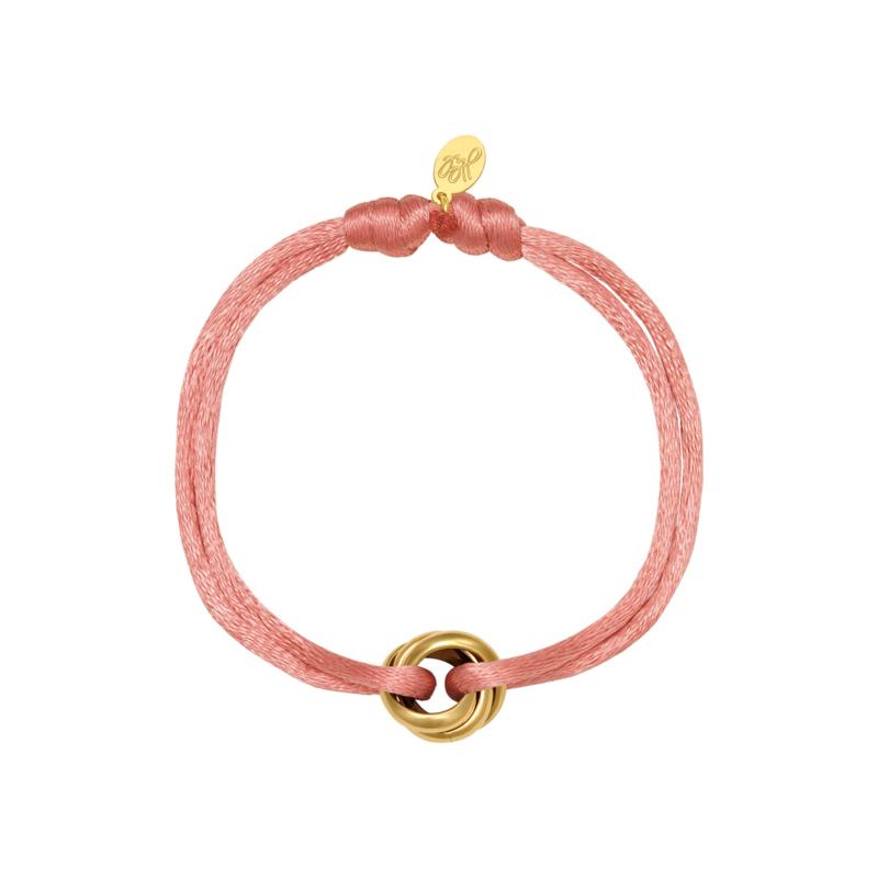 Satijnen armbandje koraal roze - goud