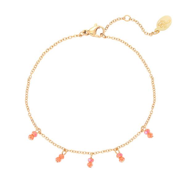 Armband bedeltjes perzik - goud