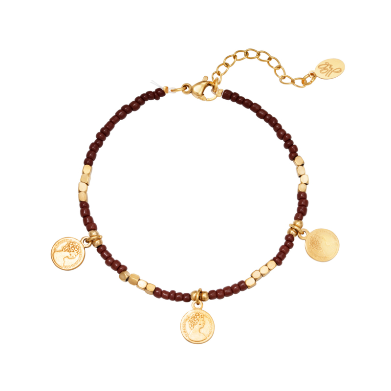 Armband kraaltjes & muntjes - goud