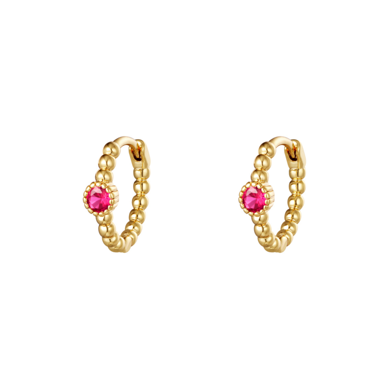 Oorringetjes  dots- roze & goud