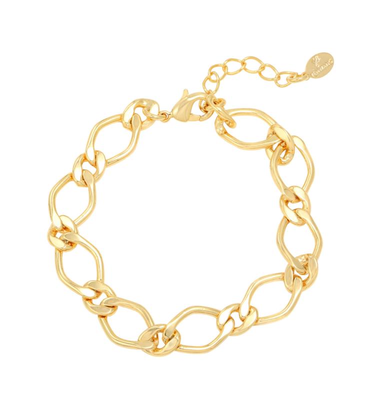 Armband grote schakel - goud