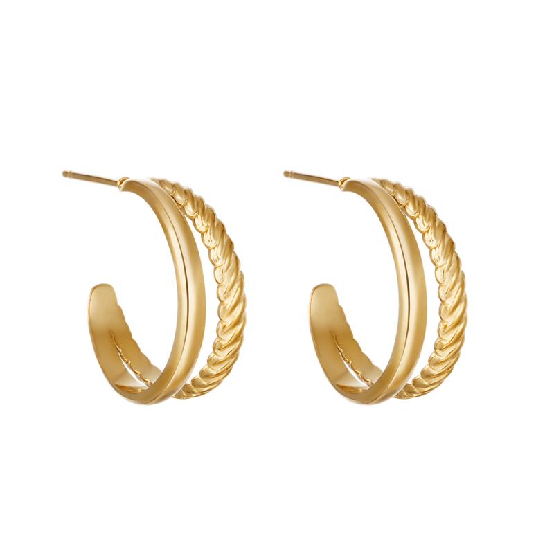 Oorringetjes double fancy  - goud