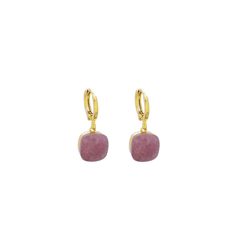 Stone Earrings - Pink & Gold