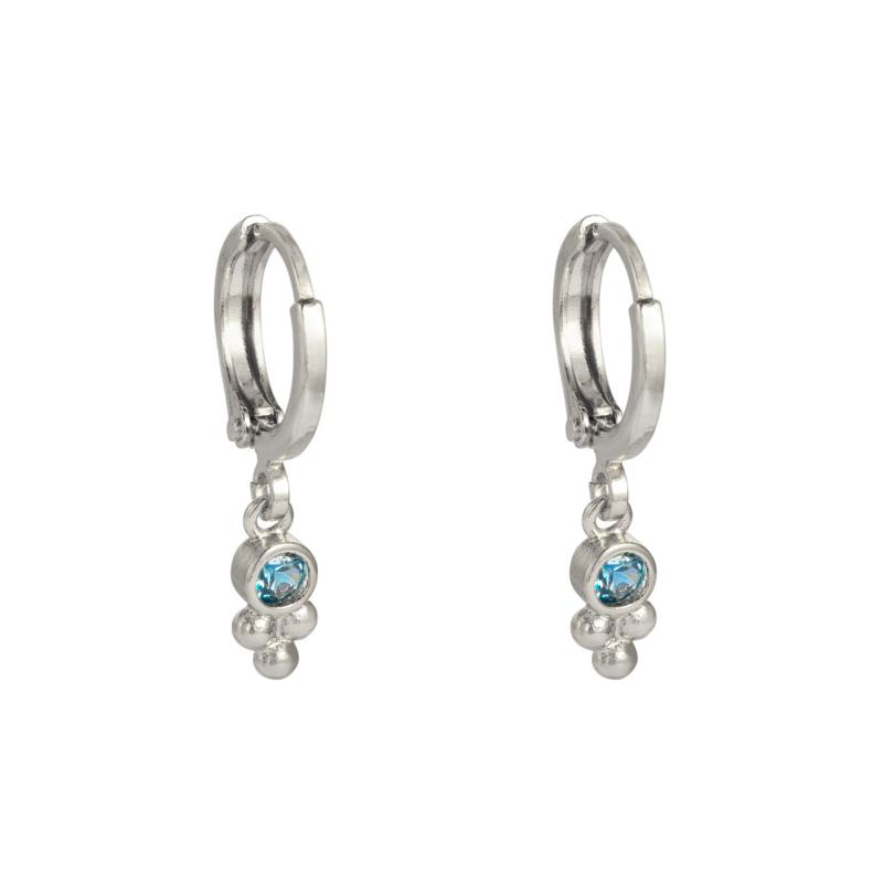 Oorringetjes blauw steentje - zilver