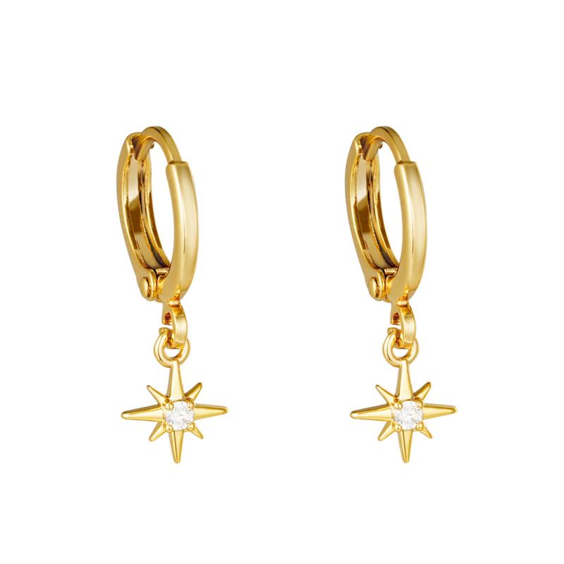 Oorringetjes sterretje met steentje - goud