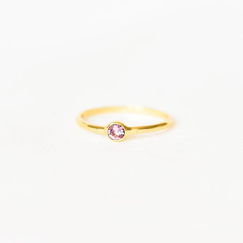 Ring Swarovski roze - goud