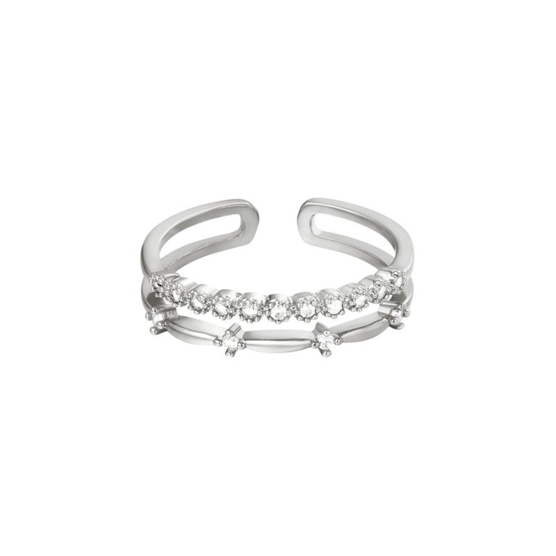 Ring double fancy - zilver
