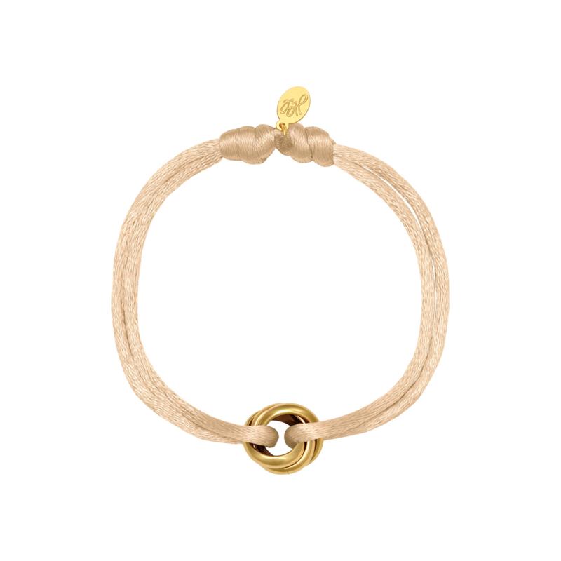 Satijnen armbandje zacht beige - goud