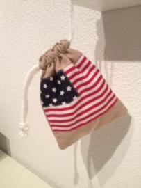 Mini tasje/Knikkerzakje Amerikaanse vlag