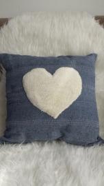 Kussen jeansblauw hart