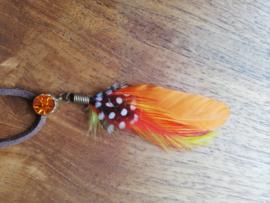 Leren veter oranje steen