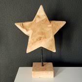 Kerstster hout op houten standaard 40cm