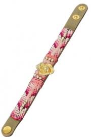 Lederen armband roze