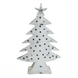 Metalen kerstboom waxinehouder wit