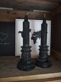 Zwarte dinerkaars kandelaar model 20cm