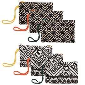 Handed By tas Africanos wit/zwart met rood hengsel