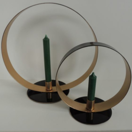 Kandelaar rond zwart/goud 20 cm
