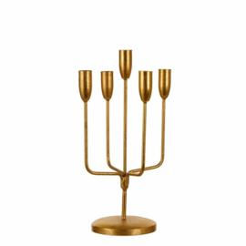 Kandelaar antiek goud 5 armen