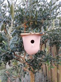 Vogelhuis bamboe roze