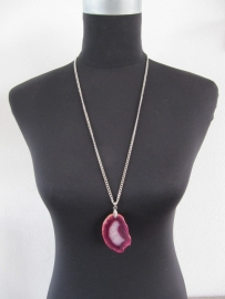 Halsketting natuursteen roze