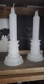 Witte dinerkaars kandelaar model 20cm