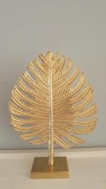 Ornament leaf goud op voet hoogte 43cm