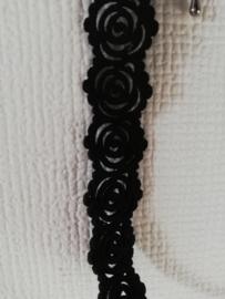 Choker zwart bloem