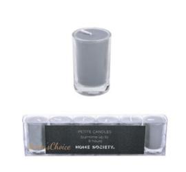Kaars in glas zilver 6 stuks hoogte 5cm