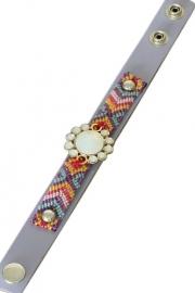 Lederen armband lila paars