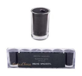 Kaars in glas zwart 6 stuks hoogte 5cm