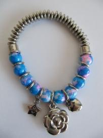 Armband kralen blauw roze