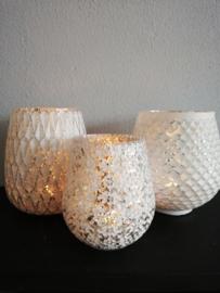 Waxinelicht wit-zilver 11cm