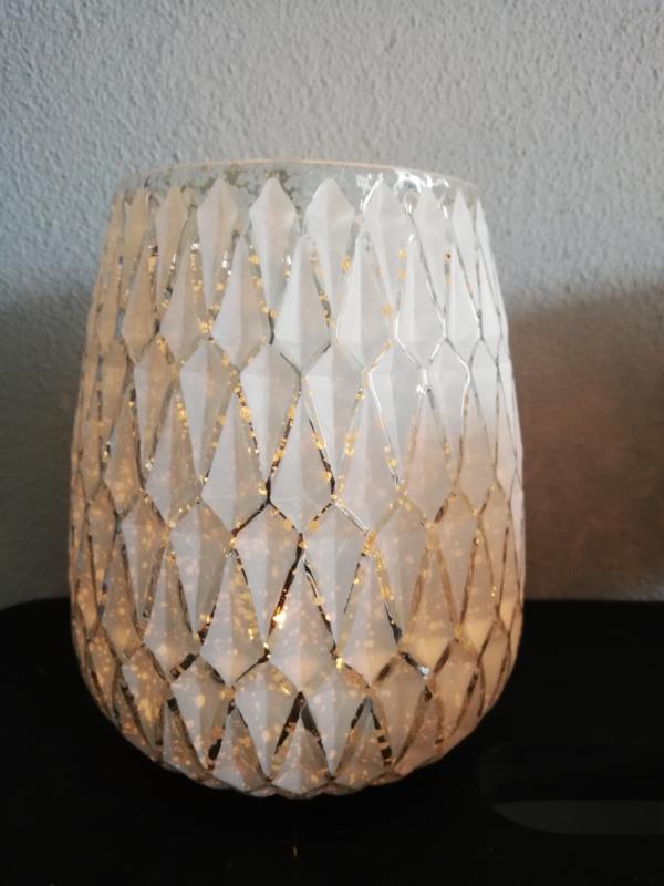Waxinelicht wit-zilver 14cm