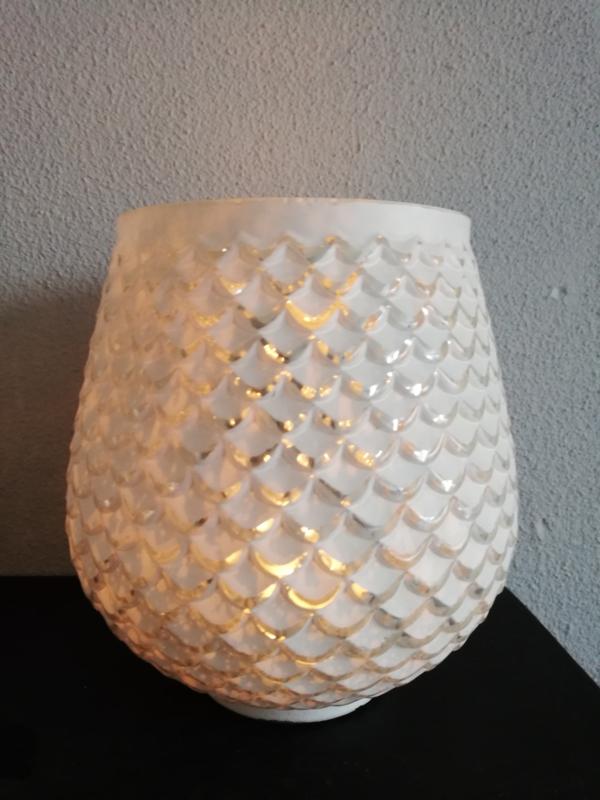 Waxinelicht bol wit-zilver 14cm
