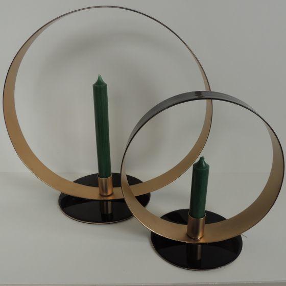 Kandelaar rond zwart/goud 30 cm