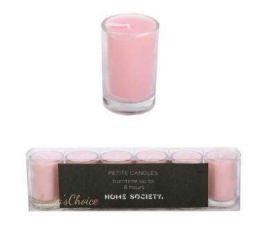 Kaars in glas roze 6 stuks hoogte 5cm