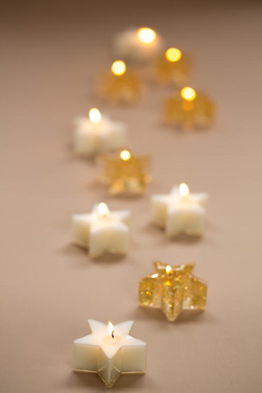 Waxinelichtjes ster goud glitter