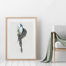 A3 Art Print | Girl with Feathers