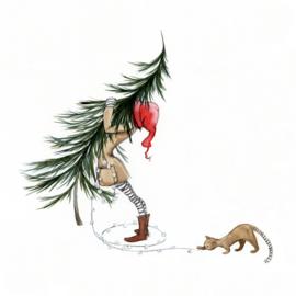 Postkaart   Winter Kerstboom