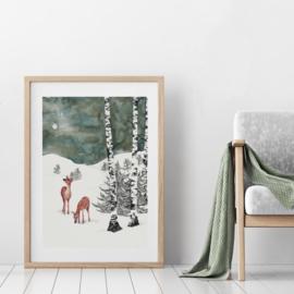 A3 Art Print | Deers in Winter Night