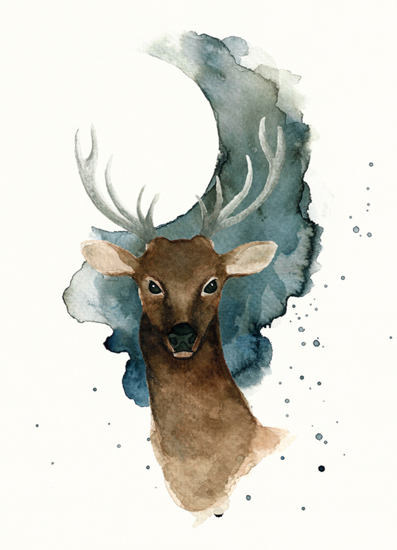 A5 Art Print | Full Moon Deer