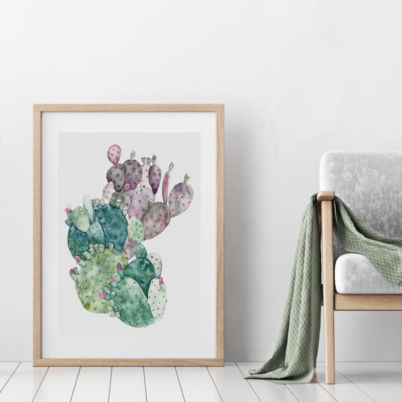 A3 Art Print | Cactus Green Pink