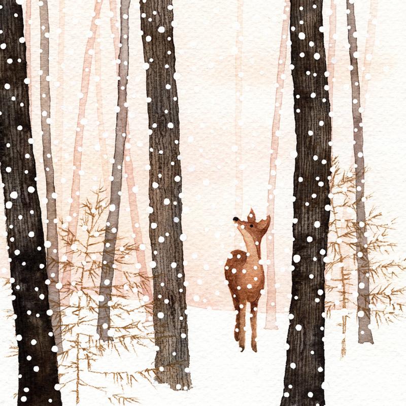 Postkaart   Winter Hertje