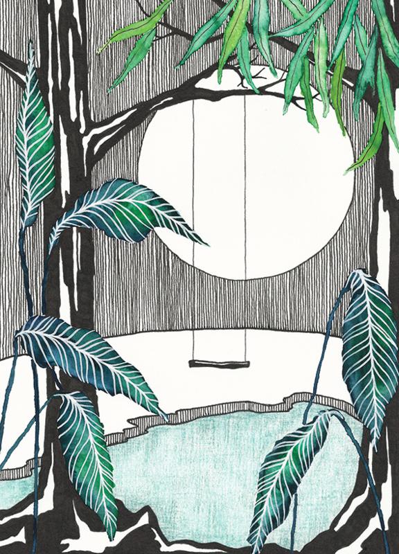 A5 Art Print   Moonlight Swing
