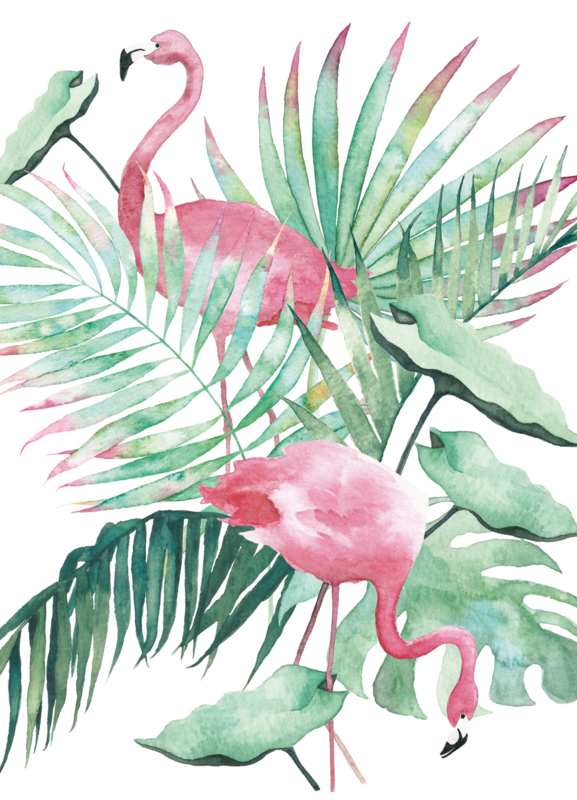 A5 Art Print | Flamingo Leaves