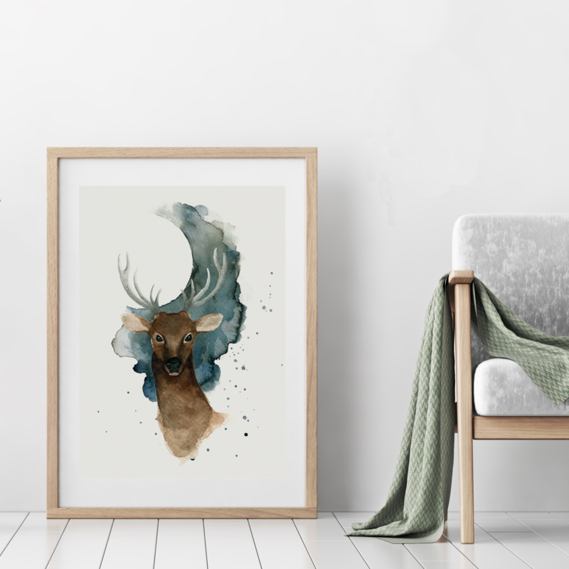 A3 Art Print | Full Moon Deer