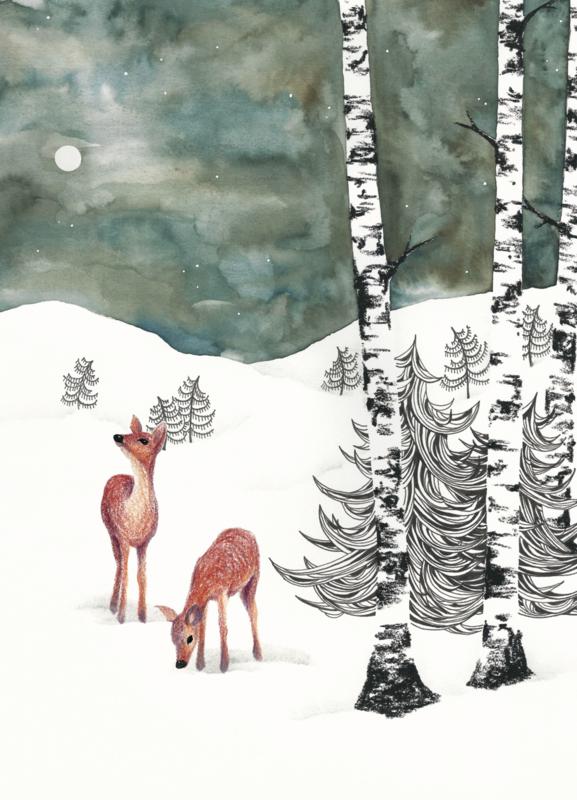A5 Art Print | Deers in Winter Night