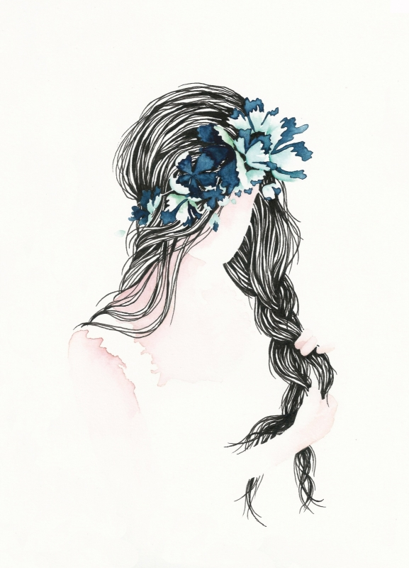 Postkaart | Girl with Flowers